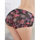 Women Floral Printed Mesh See Through Low Waist Soft Briefs