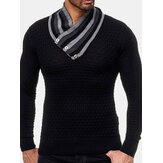 Men's Fashion Long Sleeve Turtleneck Knit Buttons Sweaters