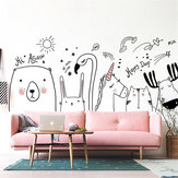 Nordic Style Zoo Bedroom Decoration Rabbit Unicorn Wall Sticker Removable DIY Living Room Wall Painting