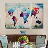 Pinturas de lona coloreadas del arte de la pared del extracto del mapa del mundo decorativas para la decoración casera