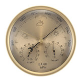 3 IN 1 Gold Wall Hanging Weather Thermometer Barometer Pressure Gauge Hygrometer