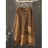 Corduroy Polka Dot Patchwork Irregular Vintage Dress