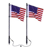 2X 12V 3FT/4FT/5FT LED 4WD Strip RGB Color Whip America USA Flag Light + Remote Control For Jeep ATV UTV RZR Motorcycle