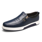 Genuine Leather Casual Soft Sole Zipper Business Oxfords