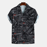 Men Floral Printed Turn-down Collar Hawaiian Style Shirts