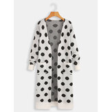 Women Long Sleeve Polka Dot Print Cardigans