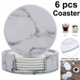 6Pcs Marble Cup Coaster Round Leather Heat Insulation Mat for Kitchen Table Home