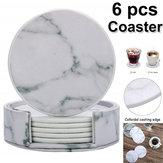 6 Adet Mermer Kupası Coaster Yuvarlak Deri Isı Yalıtım Mat Mutfak Masa Ev için
