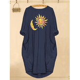 Sun Moon Cartoon Print Casual damesjurk met zakken