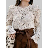 Chic Lace Hollow Out Long Sleeve O-neck Causal Blouse For Women