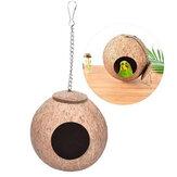 鳥の巣自然なココナッツの殻鳥の巣インコの家小屋オウムケージペットのおもちゃフィーダーフィーディングケージ