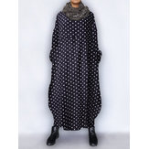 Long Sleeve Casual Loose Polka Dot Baggy Maxi Dress