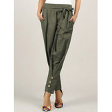 Women Casual Button Solid Pocket Pants