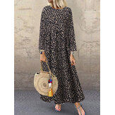 Women Crew Neck Leopard Print Maxi Dress