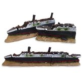 40cm Acquario Fish Tank Ornament Shipwreck Boat Ship Wreck Hidden Cave Decor