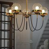 5 Heads Modern Nordic Ceiling Light Glass Globe Chandelier Pendant Lamp Fixture
