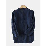 Mens Casual Comfy Cotton Vintage Style Plus Size Shirts
