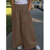 Wide Leg Women Casual Solid Color Loose High Elastic Waist Side Pockets Pants
