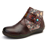 Flores Pequenas Retro Colorful Costura Soft Botas De Couro