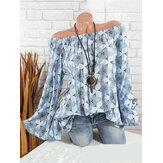 Casual Printed Off Shoulder Flare Sleeve Blouse For Women