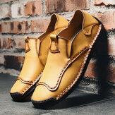 पुरुषों के हाथ सिलाई Soft एकमात्र चमड़े के जूते