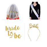 Bride To Be Wedding Veils Ring Crown Bridal Sash Party Decoration Set Gold Color Wedding Decor