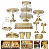 クリスタルメタルプレートケーキディスプレイカップケーキスタンド誕生日パーティーウェディングデコレーション