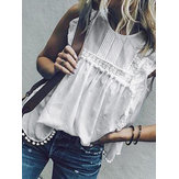 Lace Tassel Casual Loose Tank Tops