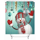 180 x 180cm Waterproof 3D Christmas Snowman Printed Bathroom Shower Curtain Bathroom Decor