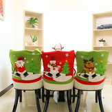 Loskii Christmas Chair Cover Cartoon Christmas Santa Claus Chair Back Cover Snowman Elk Ski Dinner Table Party Decorations
