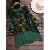 Vintage Şifon Baskı Patchwork Bluz