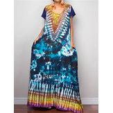 Vintage ethnische Sommer Tie-Dye Loose Beach Long Maxi Kleid