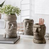 Yuihome Cimento Vintage Páscoa Moai Pedra Organizador Retrato Estátua de Pedra Arenito Porta Canetas Vaso de Flores Decoração de Contêiner