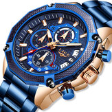 LIGE 10008 Business Style Full Steel Band Men Wrist Watch