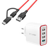 BlitzWolf® BW-MT3 3A 2 in 1 Type C Micro USB Data Cable & BW-PL5 30W QC3.0 Fast Charging 2.4A 4-Ports USB Charger
