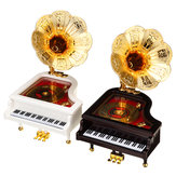 Vintage Retro Piano Phonograph Gold Trumpet Horn Music Box Home Decorations