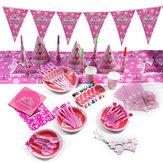 16Pcs Children's Birthday Party Supplies Kids Napkin Banner Tableware Decorations