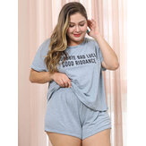 Plus Size Printed O Neck Short Sleeve Solid Color Pajama Set