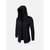 Mens Hitam Mode Kasual Mid Long Cloakman Cloak Hooded Jacket
