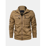 Epaulet Outdoor Men Multi Pockets Zipper Stand Collar Jacket