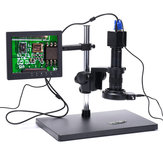 HAYEAR 720P 1080P VGA Industrial Digital Video Microscope Camera + 180X C mount Lens + 56 LED Ring Light + Stand For PCB Repair