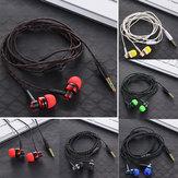 Nylon Weave-kabel-hovedtelefonhovedtelefon Høj kvalitet kabelforbundet stereo-øretelefon med mikrofon til bærbar smartphone