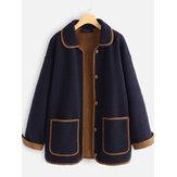 Cuello vuelto patchwork de lana Plus Talla Abrigos de invierno