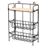 Wrought Iron 3-Tiers Storage Rack Adjusted Desktop Debris Ornaments Organizer Storage Shelf Home Wall Decoration