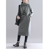 Women Solid Color Turtleneck Loose Long Sleeve Causal Sweatshirt Dress