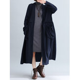 Frauen Pure Color Cotton Loose Langarm Taschen Trench