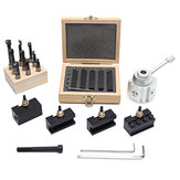 Mini Quick Change Tool Post Holder Set with 9pcs 3/8 Inch Boring Bar and 5pcs Indexable Blade