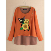Original              Casual Print Cats Flower Patch Striped Blouse