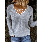Casual V neck Solid Knitted Pullover Sweaters