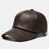 Men PU Leather Vintage Baseball Cap Personality Hat